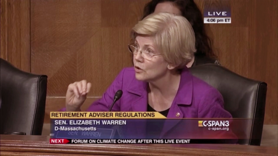 Sen. Elizabeth Warren attacks high cost retirement investing plans